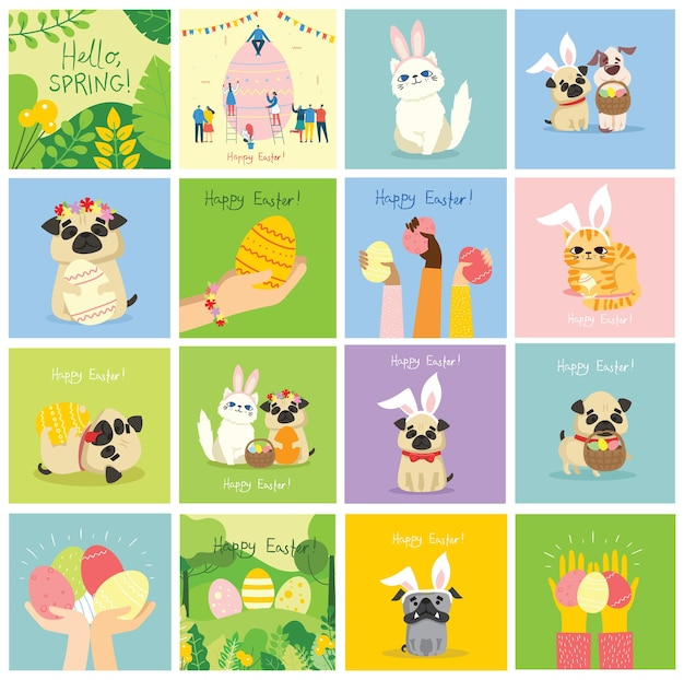 Vector easter cards with animals holding the eggs and hand drawn text - happy easter in the flat style