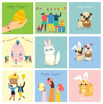 Vector easter cards with animals holding the eggs and hand drawn text