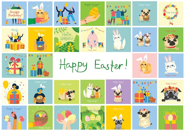 Vector easter cards with cats, people, dogs and spring flowers. happy easter in the flat style