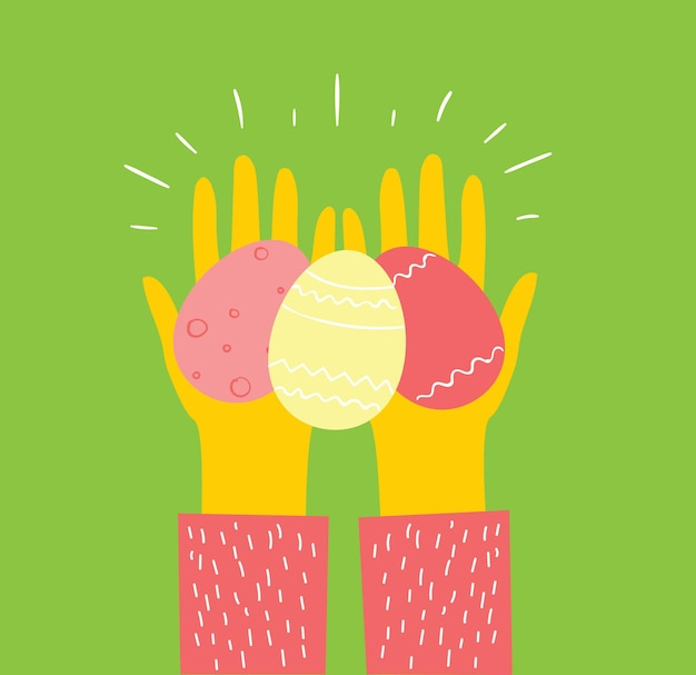 Vector easter cards with hands holding the eggs and hand drawn text - happy easter in the flat style