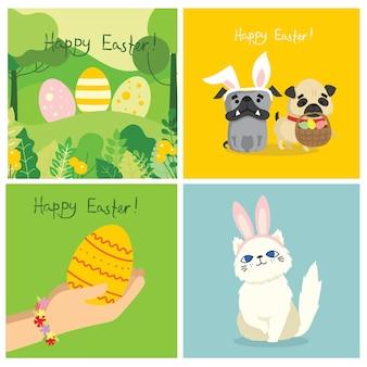 계란을 들고 사람들과 벡터 부활절 카드와 손으로 그린 텍스트-플랫 스타일의 행복한 부활절