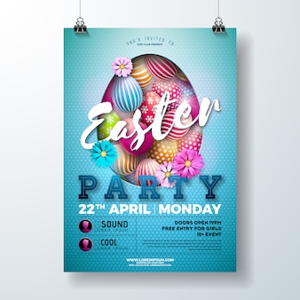 Vector easter party flyer illustration with egg and flower
