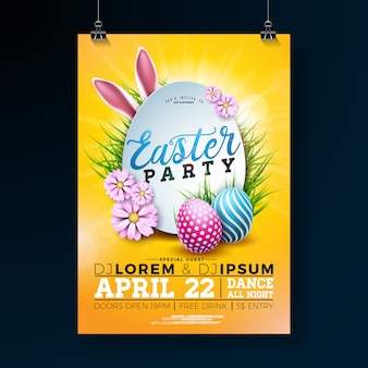 Vector easter party flyer illustration with egg