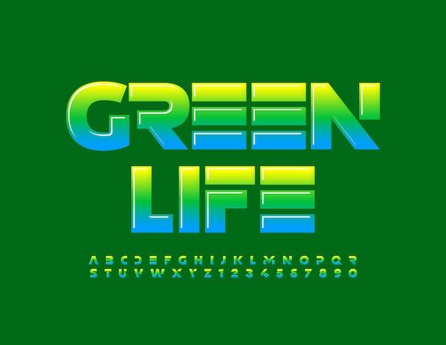 Vector eco concept green life gradient color alphabet letters and numbers set creative style font