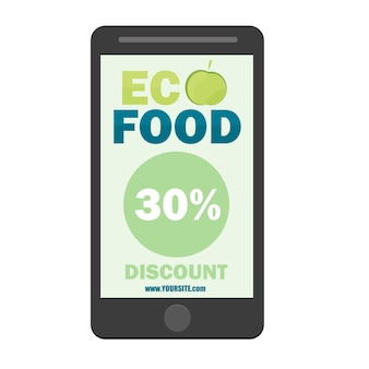 Vector eco flyer, brochure, promotions coupon or banner design with discount - mobile app design element - green snd blue colors