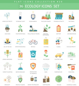 Vector ecology color flat icon set