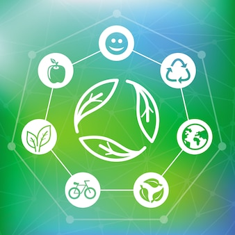 Vector ecology concept with recycle emblem - abstract green background