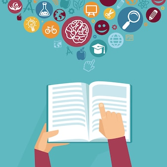 Vector education concept - hands holding book in flat retro style