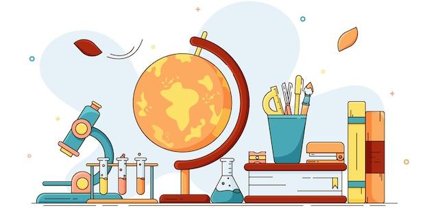 학교 배너에 학교 편지지의 벡터 교육 개념 그림