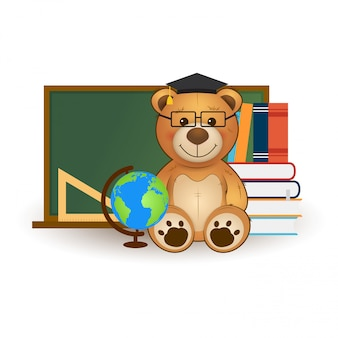 Vector education illustration. back to school. cute teddy bear with books, globe and chalkboard