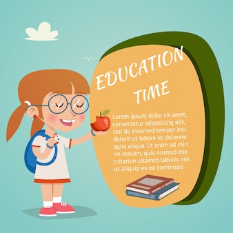 Vector education time concept with happy girl holding red apple
