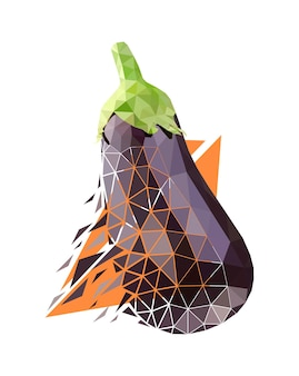 Vector eggplant in low poly style. digital art