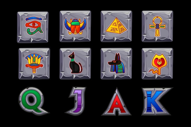 Vector egypt slots icons on stone square. game casino, slot, ui. icons on separate layers.