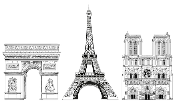 Vector eiffel tower, triumphal arch and notre dame cathedral vector hand drawing illustration.