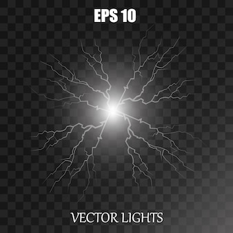 Vector electricity charge illustrations on a transparent background