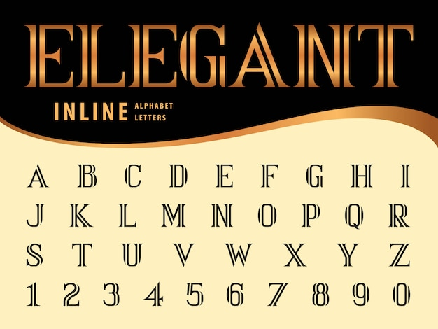 Vector of elegant alphabet letters and numbers