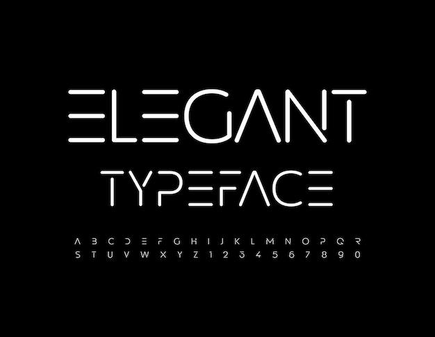 ベクトルエレガントな書体白い宇宙アルファベット文字と数字は最小限のスタイルのフォントを設定します