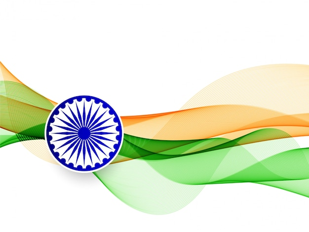 Vector elegant wavy indian flag design