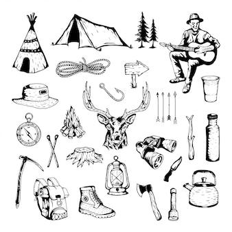 야영 및 야외 모험의 벡터 요소