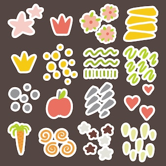 Vector elements for the design of children, postcards, banners, stickers. hearts, stars, crowns, strokes of bright colors.