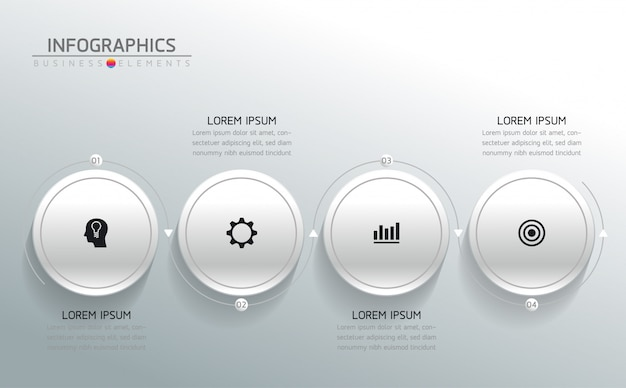 インフォグラフィックのベクター要素。プレゼンテーションとグラフ。ステップまたはプロセス。 4つのステップ。