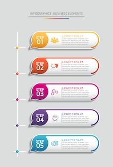 インフォグラフィックのベクター要素。プレゼンテーションとグラフ。ステップまたはプロセス。 5つのステップ。