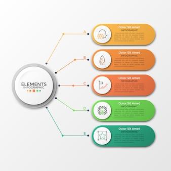 인포 그래픽에 대한 벡터 요소입니다. 다이어그램, 그래프, 프레젠테이션 및 차트용 템플릿입니다. 5가지 옵션, 부품, 단계 또는 프로세스가 있는 비즈니스 개념. 추상적 인 배경