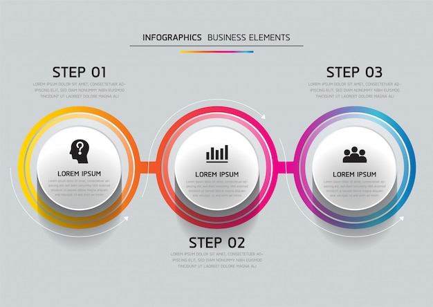 Vector elements for infographic. presentation and chart. steps or processes.  3 steps.
