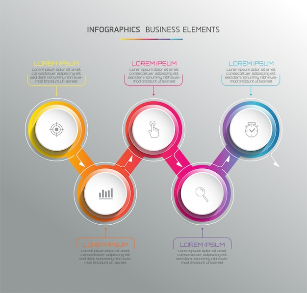 Vector elements for infographic. presentation and chart. steps or processes.  5 steps