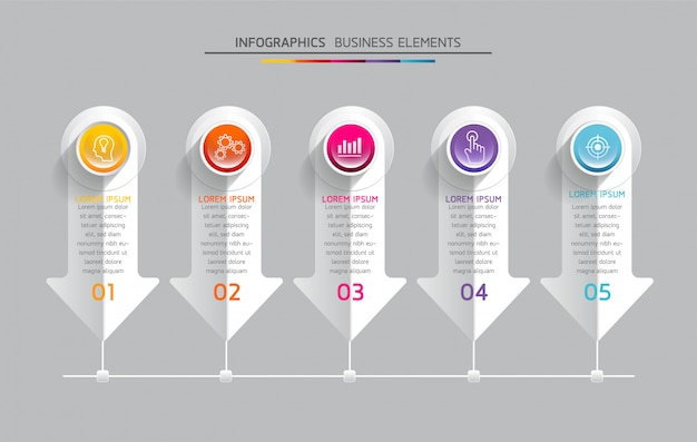 Vector elements for infographic. presentation and chart. steps or processes.  5 steps.