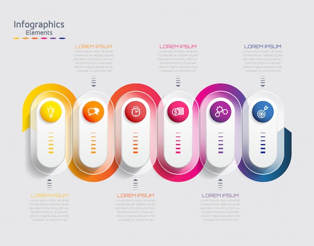 Vector elements for infographic. presentation and chart. steps or processes.  6 steps