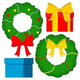 クリスマスの装飾のベクトル要素。新年の花輪、ギフト、お辞儀。