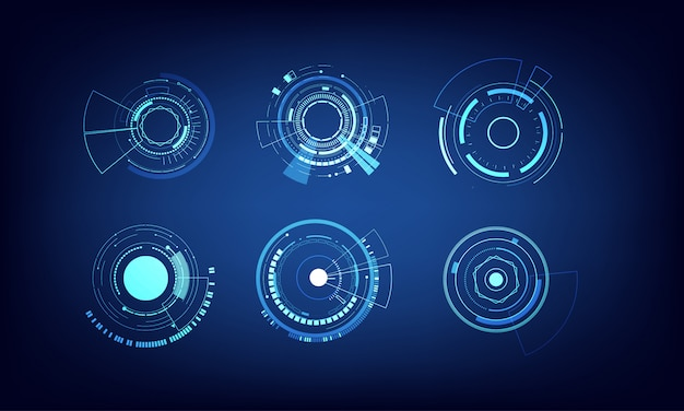 Vector elements set technology circle design