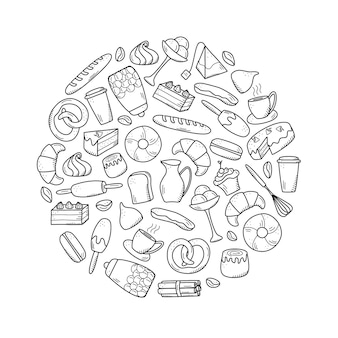 Vector elements of sweet snacks and pastries, coffee dishes. excellent for decorating cafes and menus. doodle icon style.