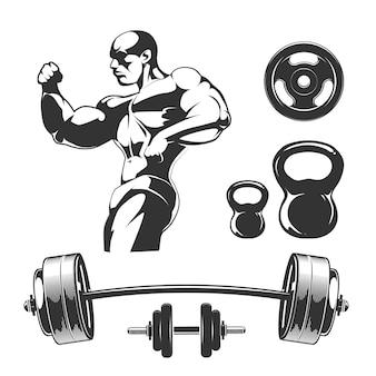 Elementi vettoriali per etichette vintage fitness e palestra. sport fitness palestra, bodybuilding e elemento manubrio, bilanciere per l'illustrazione dell'etichetta