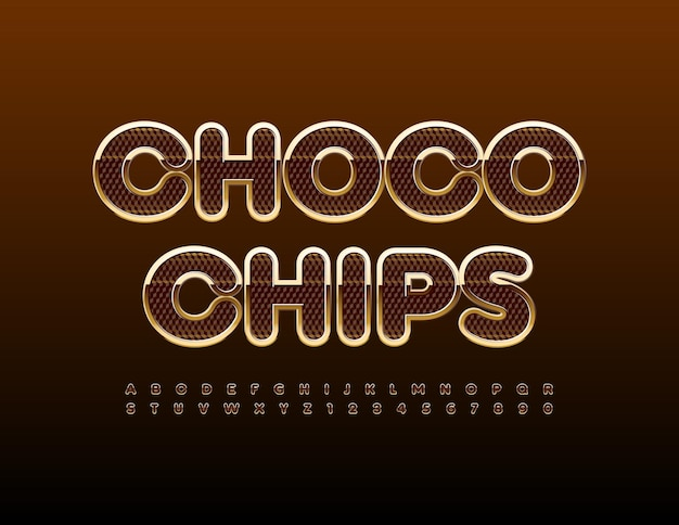 Vector elite sign choco chips stylish alphabet letters and numbers set luxury textured font