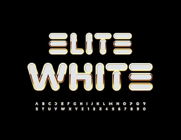ベクターエリートホワイトとゴールドのアルファベットプレミアムスタイリッシュなフォント光沢のある豪華な文字と数字