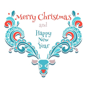 Векторный лось орнамент рождественской открытки. олень декоративный swirly дизайн значок