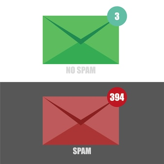 Vector of email spam no spam with red and green colored envelope on black and white backgrounds