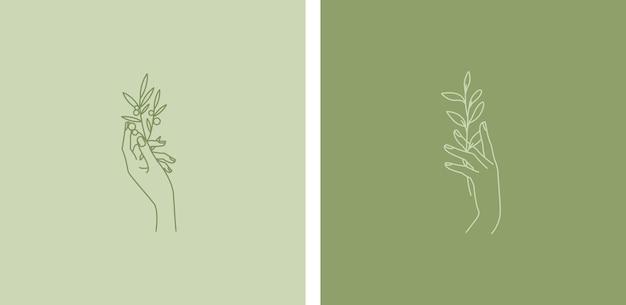 Vector emblem design set in trendy linear minimal style.
