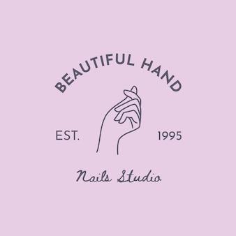 트렌디한 미니멀리스트 선형 스타일의 여성 손이 있는 벡터 상징. 미용실 또는 네일 스튜디오 로고. 명함, 포장 핸드 크림 또는 매니큐어, 네일, 비누, 미용실용 템플릿.