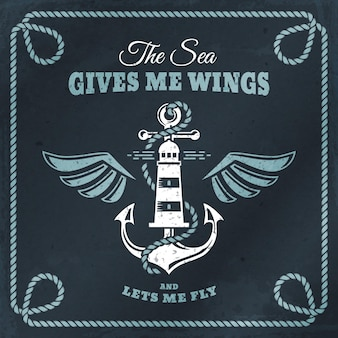 Vector emblem with anchor, lighthouse and wings. nautical banner with vintage badge, inspirational quote and rope frame. sea cruise, sailing travel or navigation themes.