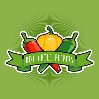 Vector emblem with chile and sweet peppers