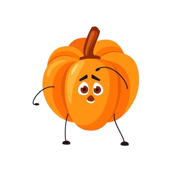 Vector emoji orange pumpkin with a surprised face