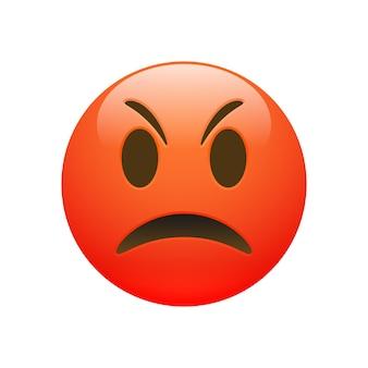 Вектор emoji красный сердитое грустное лицо с глазами и ртом на белом фоне. забавный мультяшный значок emoji. 3d иллюстрации для чата или сообщения.