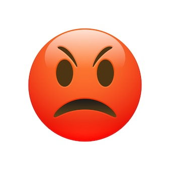 Vector emoji red angry sad face with eyes and mouth on white background. funny cartoon emoji icon. 3d illustration for chat or message.