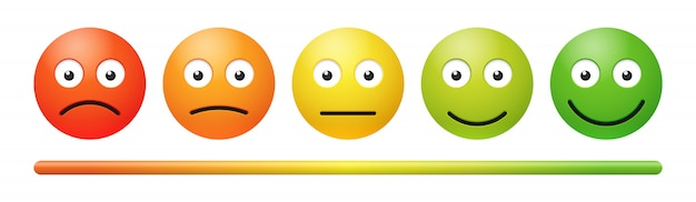 Vector emotion feedback scale on white