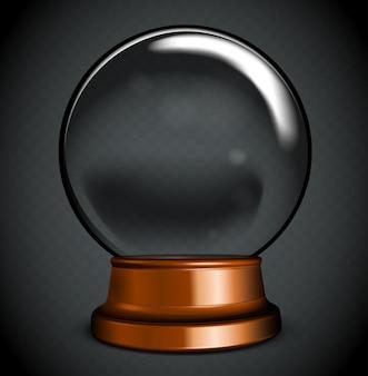 Вектор пустой снежный шар. белый прозрачный стеклянный шар на подставке с бликами и бликами.