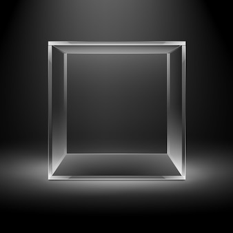 Vector empty transparent glass box cube on dark black with backlight