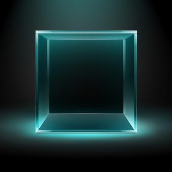 Vector empty transparent glass box cube on dark black with blue turquoise backlight